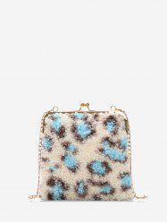 Suede Leopard Pattern Chain Shoulder Bag -