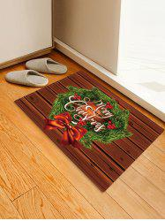 Christmas Wreath Wood Grain Pattern Water Absorption Area Rug -