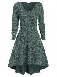 Heathered V Neck Crossover High Low Dress -