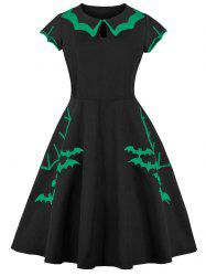 Keyhole Tiered Collar Bats Embroidered Halloween Plus Size Dress -
