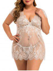 Plus Size Scalloped Eyelash Lace Plunging Babydoll -