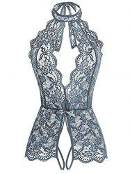 Plus Size Flower Lace Scalloped Crotchless Teddy -