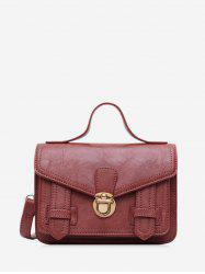 Solid Embossed Buckle Crossbody Shoulder Bag -