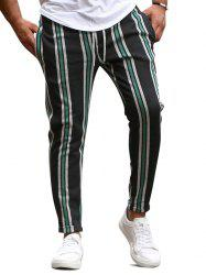 Vertical Striped Drawstring Pencil Pants -