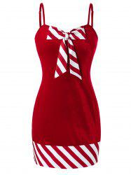 Plus Size Christmas Bowknot Striped Velvet Dress -