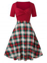 Plus Size Sweetheart Neck Plaid Twisted A Line Dress -