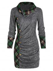 Plaid Ruched Space Dye T Shirt -