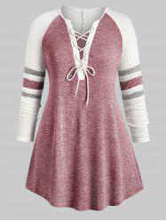 Plus Size Lace Up Heathered Striped V Neck Tee -