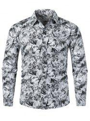 Plant Leaf Drawing Allover Print Long Sleeve Button Shirt -