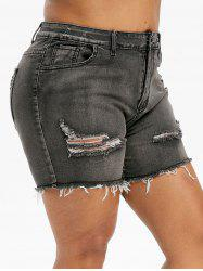 Plus Size Ripped Frayed Denim Shorts -