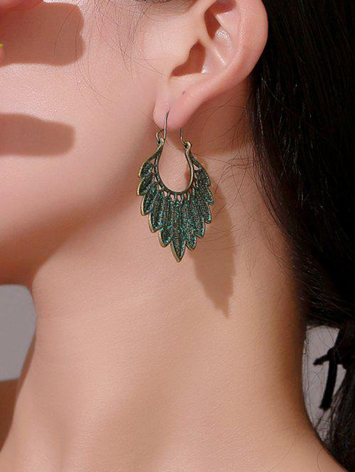 Latest Antique Feather Shape Alloy Drop Earrings