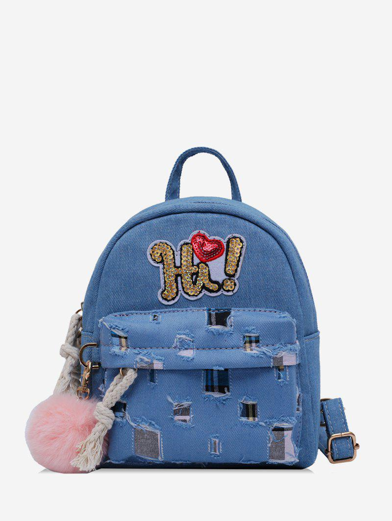New Fuzzy Ball Design Patchwork Backpack