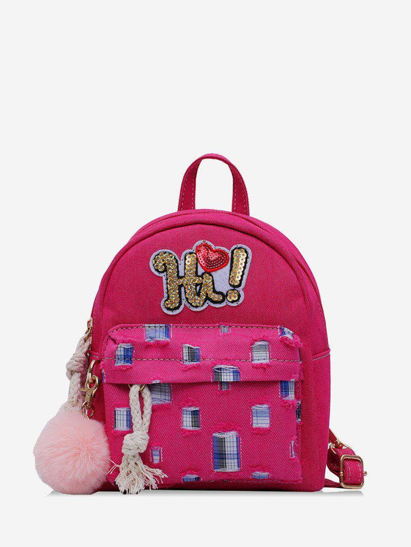 Shops Fuzzy Ball Design Patchwork Backpack