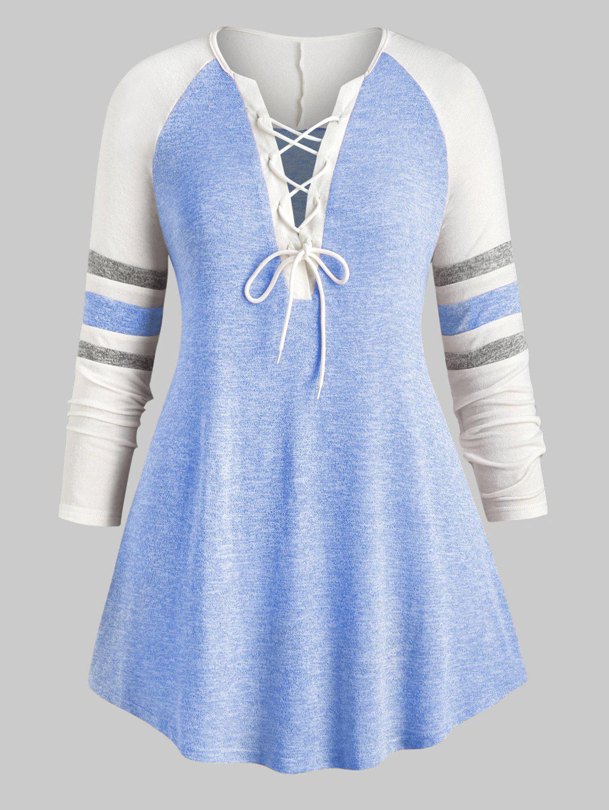 Chic Plus Size Lace Up Heathered Striped V Neck Tee