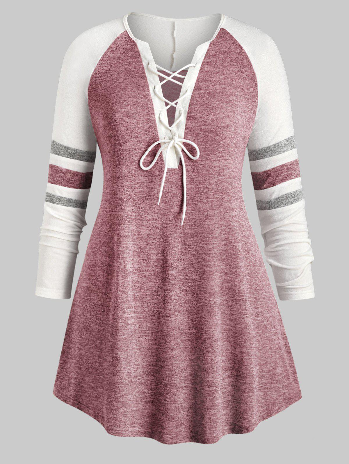 Online Plus Size Lace Up Heathered Striped V Neck Tee