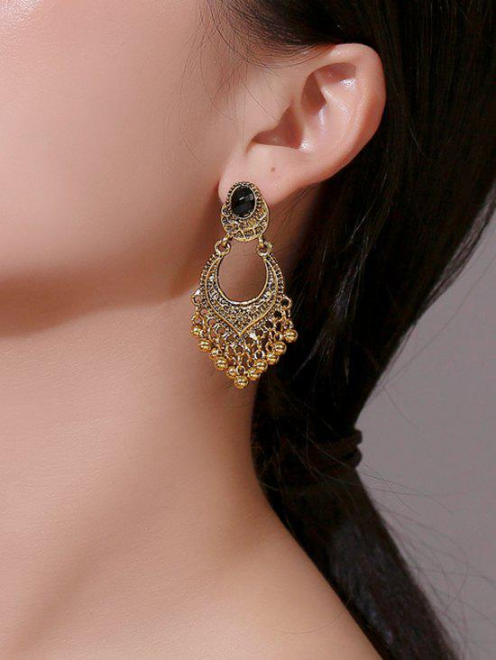 Outfit Ethnic Carved Beads Fringe Faux Gem Earrings