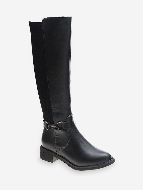 New Metal Detail Patch Knee High Boots
