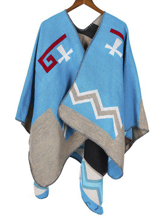 Buy Colorblock Chevron Print Cape Scarf