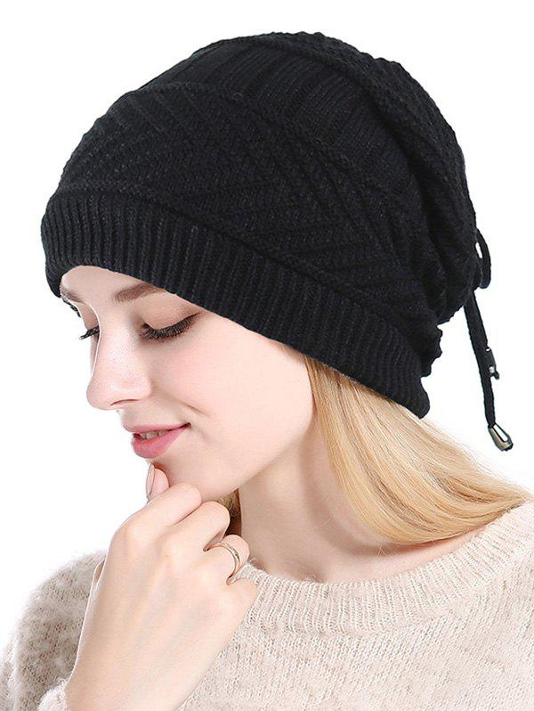 Trendy Knitted Outdoor Drawstring Double Use Scarf Hat