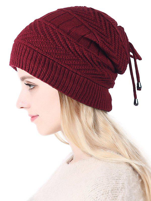Sale Knitted Outdoor Drawstring Double Use Scarf Hat