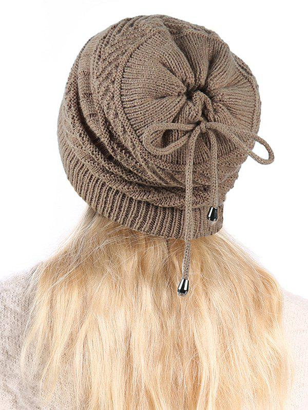 Affordable Knitted Outdoor Drawstring Double Use Scarf Hat