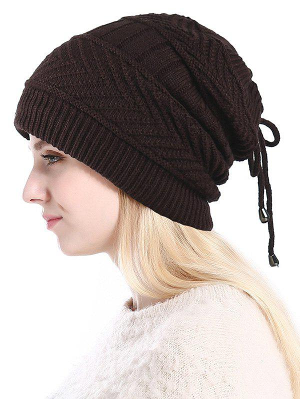 Fashion Knitted Outdoor Drawstring Double Use Scarf Hat