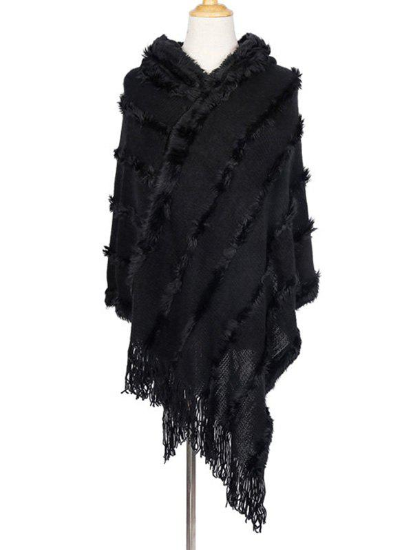 Chic Faux Fur Tassel Hooded Shawl