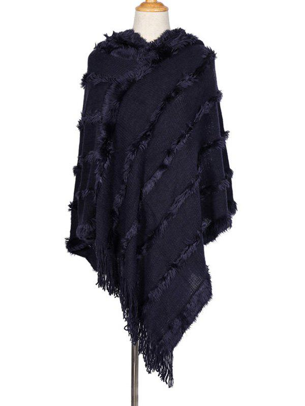 Shop Faux Fur Tassel Hooded Shawl