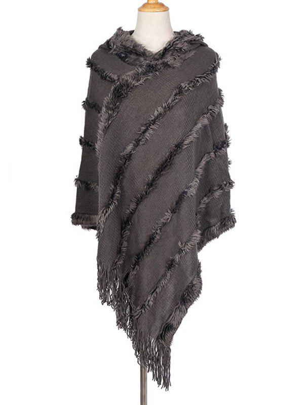 Sale Faux Fur Tassel Hooded Shawl