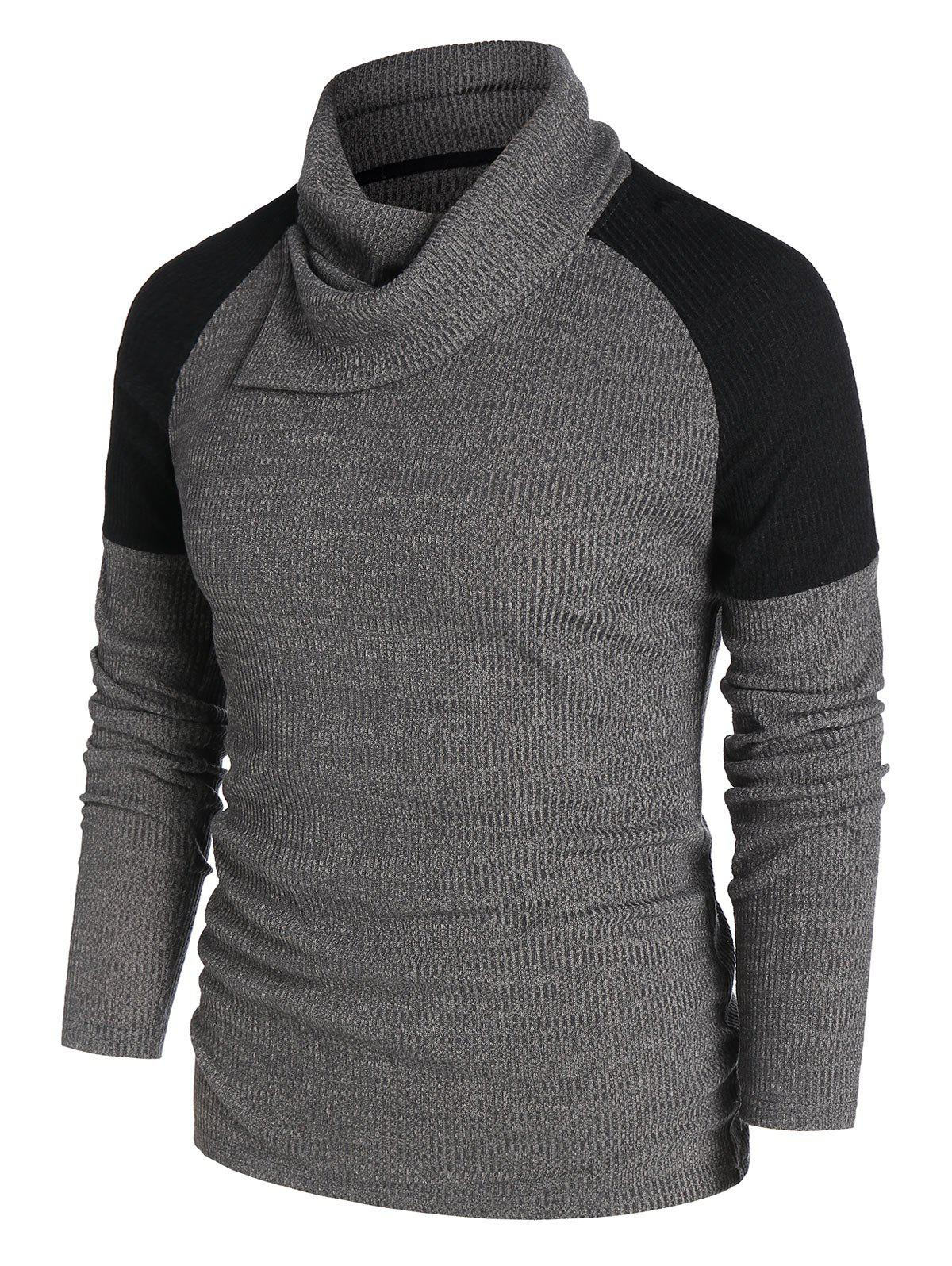 Cheap Raglan Sleeve Contrast Ribbed Knitwear
