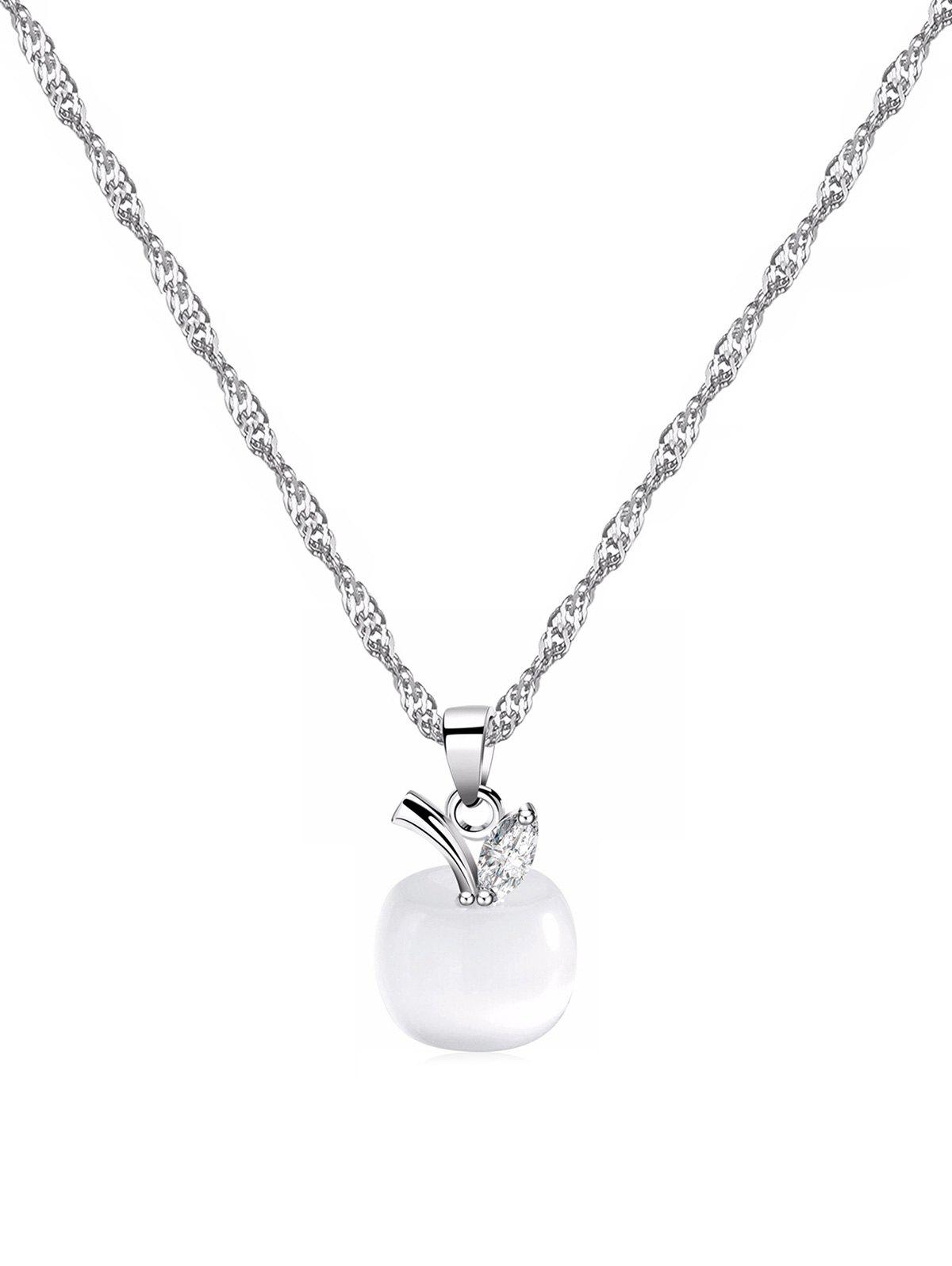 Christmas Eve Apple Shape Faux Opal Pendant Necklace, Silver