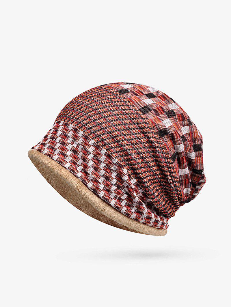 Unique Plaid Patchwork Pattern Soft Knitted Scarf Hat