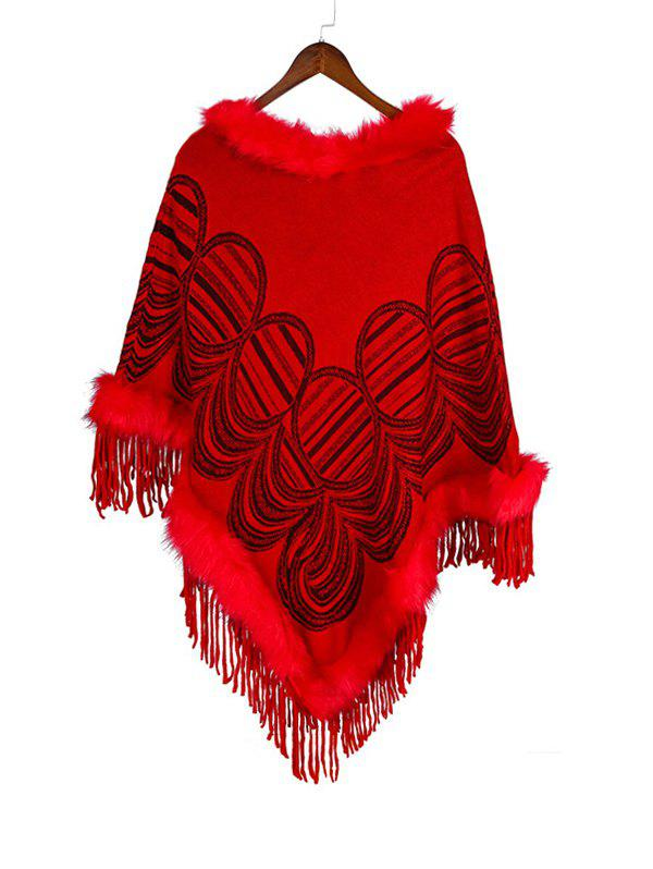 Online Geometric Pattern Tassel Faux Fur Cape Shawl