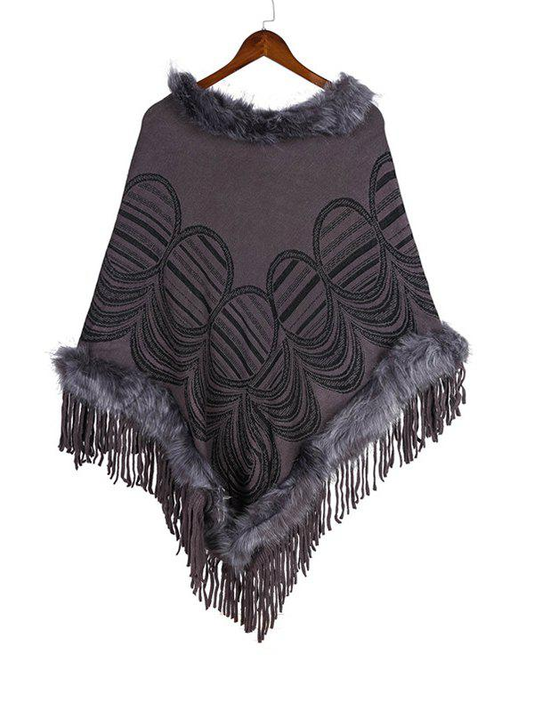 Fancy Geometric Pattern Tassel Faux Fur Cape Shawl