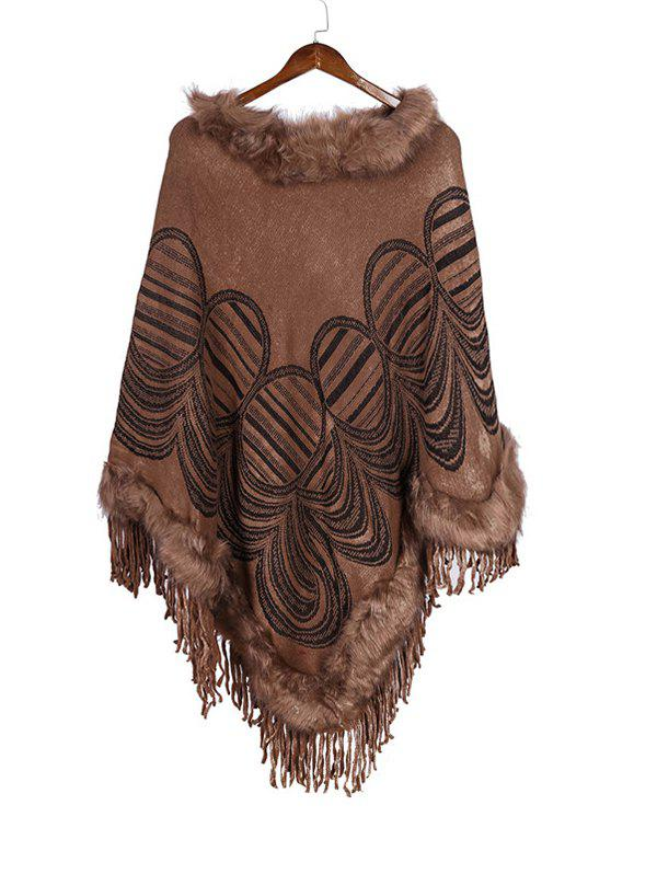 Hot Geometric Pattern Tassel Faux Fur Cape Shawl