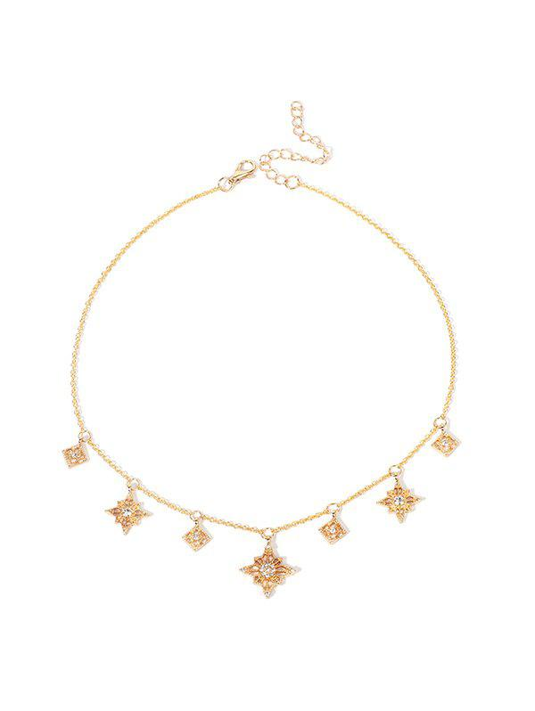 Unique Rhinestone Hollow Star Pendant Necklace