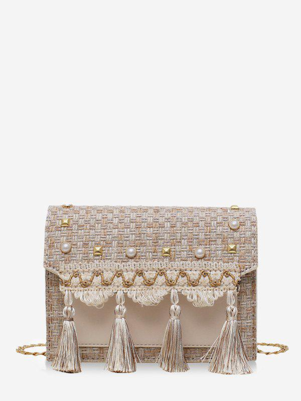 Cheap Faux Pearl Embellished Tassel Tweed Square Bag