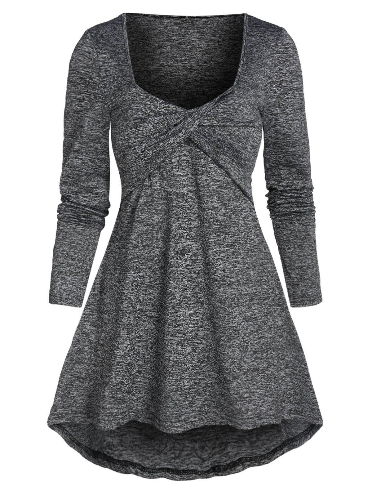 New Twist Front High Low Long Sleeve T-shirt