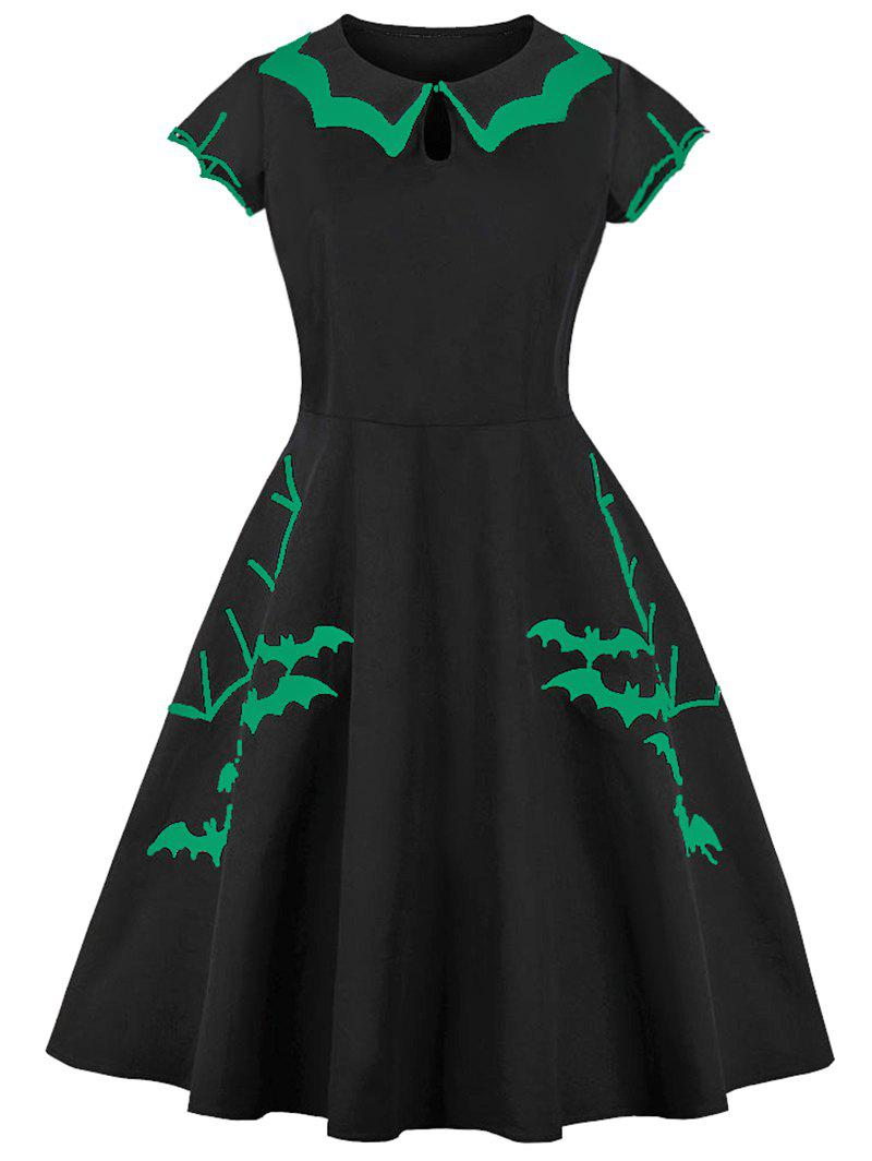 Store Keyhole Tiered Collar Bats Embroidered Halloween Plus Size Dress