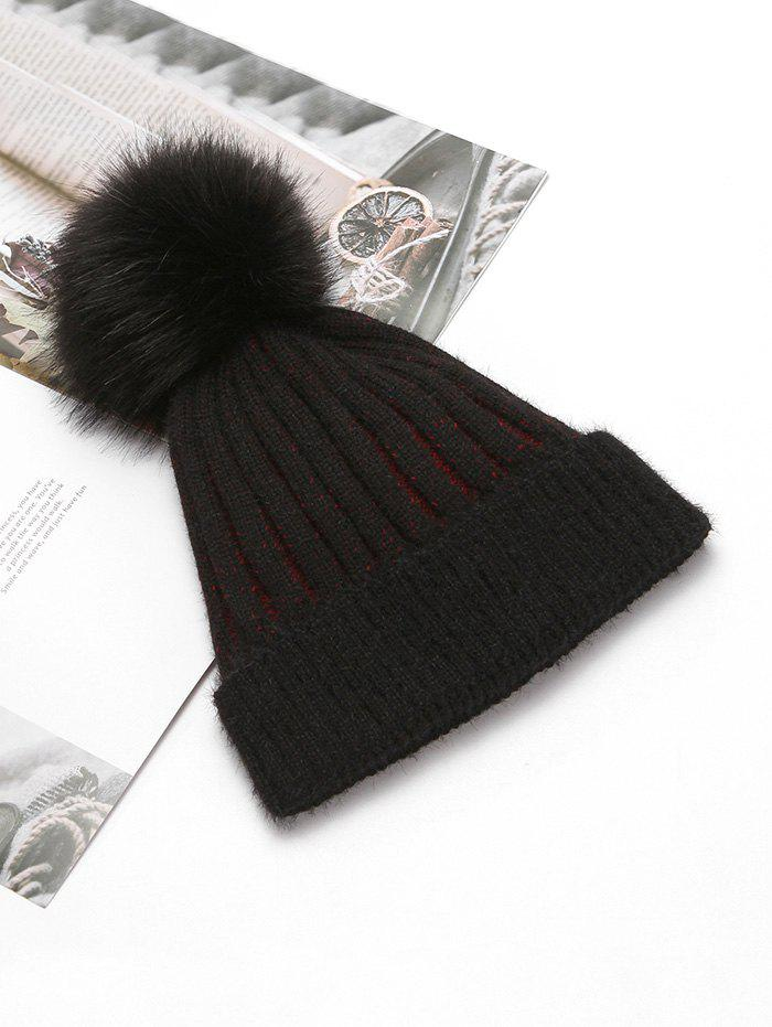 Store Striped Winter Solid Knitted Fuzzy Ball Hat
