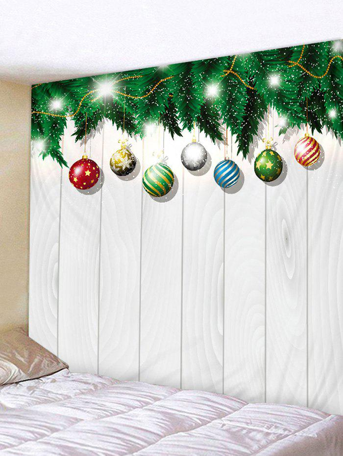 Shop Christmas Ball Wood Grain Print Wall Art Tapestry