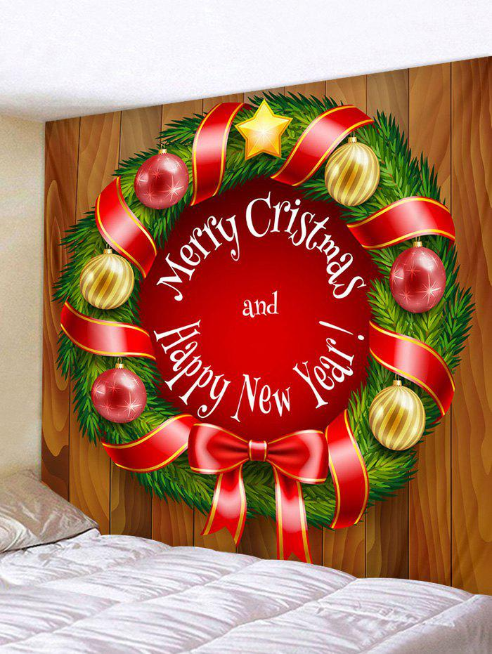 Shop Christmas Garland Ball Letter Print Wall Art Tapestry