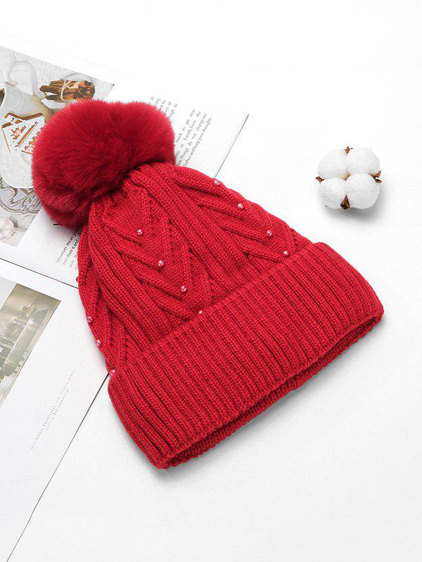 Shop Fuzzy Ball Decorate Winter Knitted Solid Pearl Hat