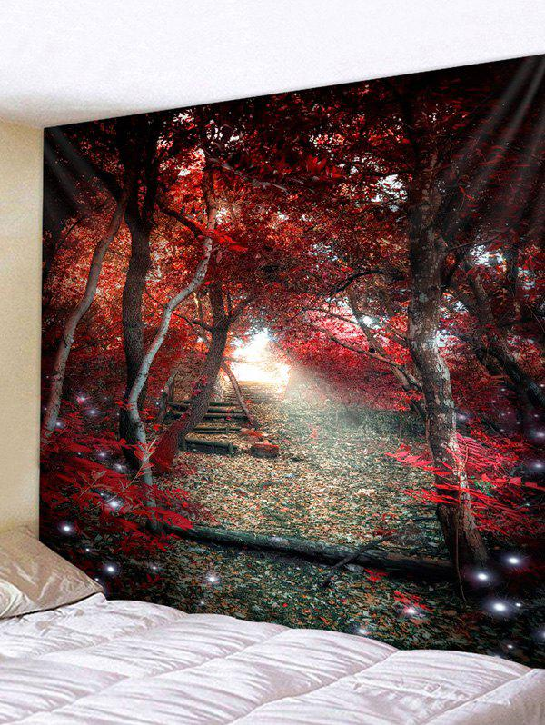 Affordable Red Forest Scenery Pathway Print Tapestry Wall Art
