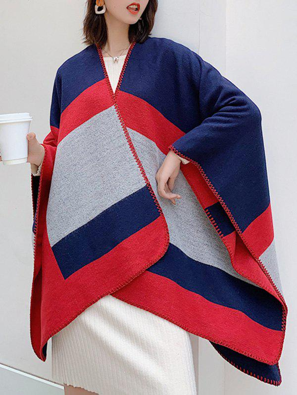 New Color-blocking Striped Faux Cashmere Split Shawl