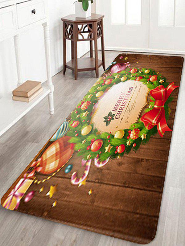 Online Christmas Garland Ball Print Antiskid Area Rug