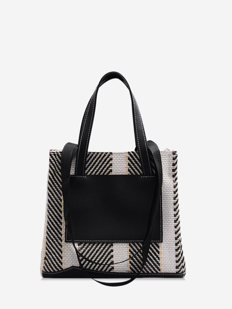 Affordable Slant Striped Canvas Shoulder Bag