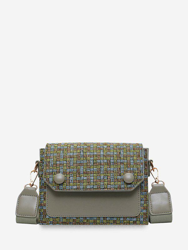 Fancy Linen Plaid Design Crossbody Bag