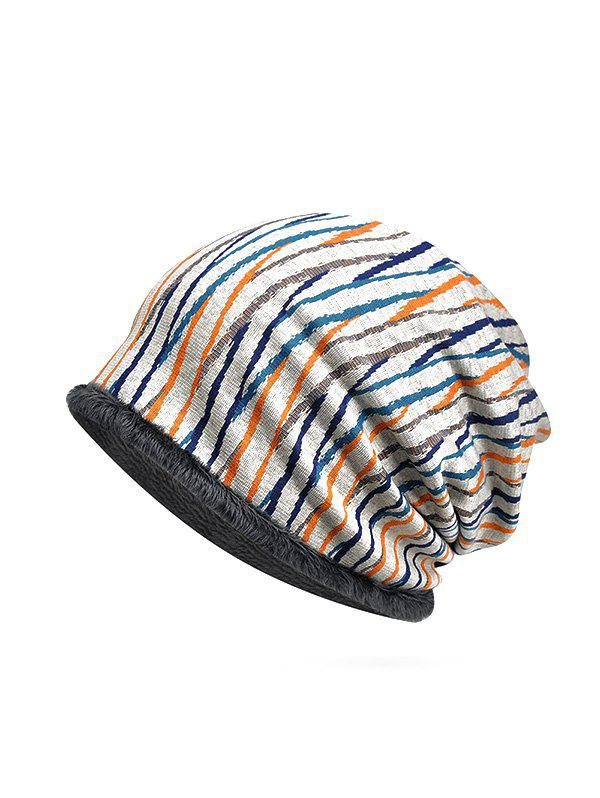 Trendy Striped Pattern Soft Knitted Scarf Hat