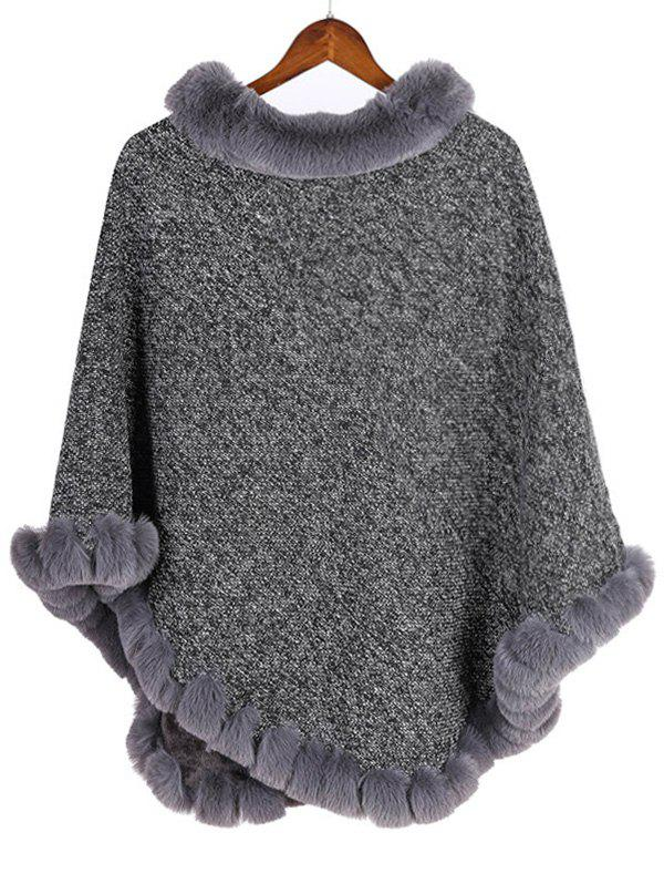 Sale Faux Fur Heathered Pullover Cape Shawl